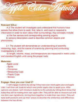 Apple Cider Activity