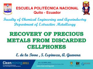Recovery of Precious Metals from  dISCARDED cellphones