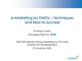 E-Marketing by DMOs   Techniques and keys to success