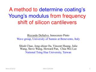 A method to  determine coating's Young's modulus  from frequency shift of silicon cantilevers