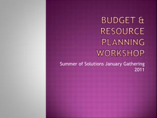 BUDGET & RESOURCE PLANNING WORKSHOP