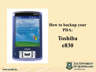 How to backup your PDA:Toshiba e830