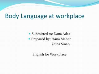 Body Language at workplace