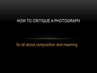 How to critique a photograph