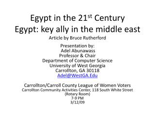 Egypt in the 21 st  Century Egypt: key ally in the middle east Article by Bruce Rutherford