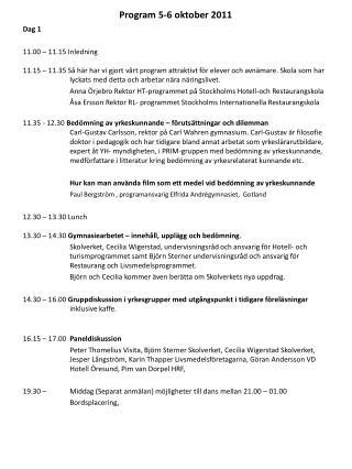 Program 5-6 oktober 2011