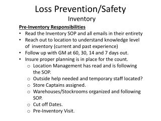 Loss Prevention/Safety