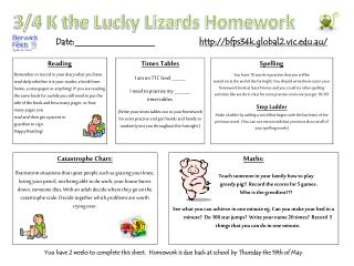3/4 K the Lucky Lizards Homework