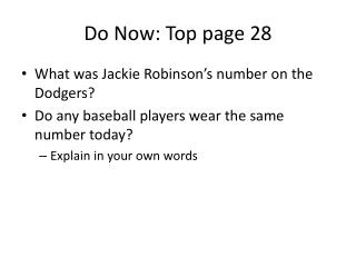 Do Now: Top page 28