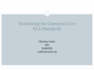 Examining the Common Core  ELA Standards