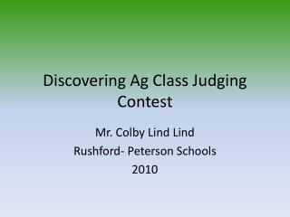 Discovering Ag Class Judging Contest