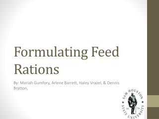 Formulating Feed Rations