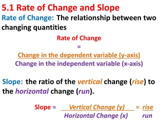 5.1 Rate of Change and Slope