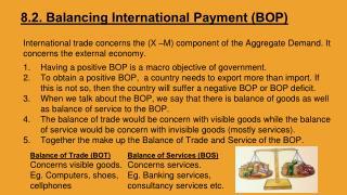 8.2. Balancing International Payment (BOP)