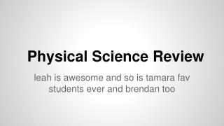 Physical Science Review