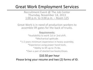 Great Work Employment Services