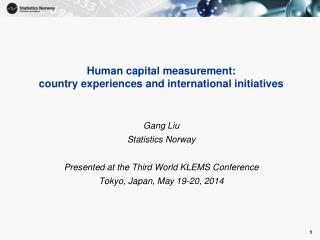 Human capital measurement:  country  experiences and international initiatives