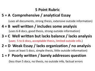 5 Point Rubric 5 = A  Comprehensive / analytical Essay