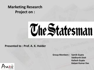 Marketing Research Project on :