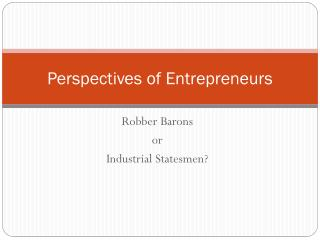 Perspectives of Entrepreneurs