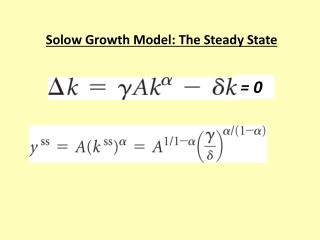 Solow Growth Model: The Steady State