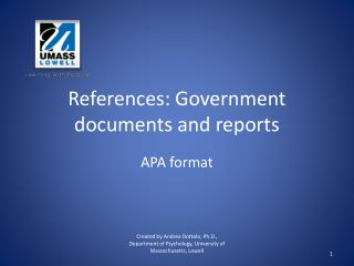 References: Government documents and reports