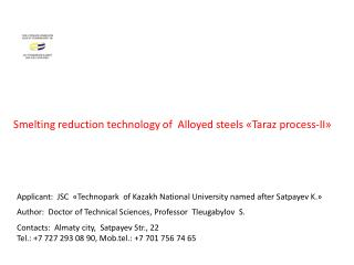 Smelting reduction technology of  Alloyed steels  « Taraz  process-II » - II»
