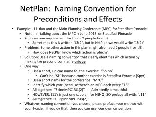 NetPlan:  Naming Convention for Preconditions and Effects