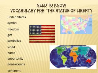 Need to Know Vocabulary for �The Statue of Liberty