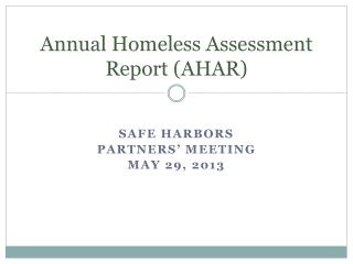 Annual Homeless Assessment Report (AHAR)