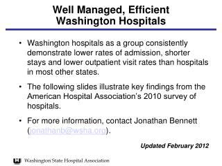 Well Managed, Efficient  Washington Hospitals