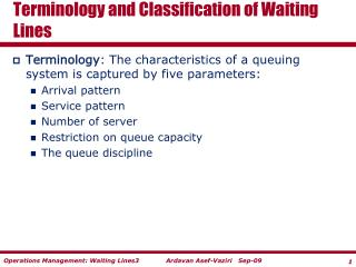 Terminology and Classification of Waiting Lines