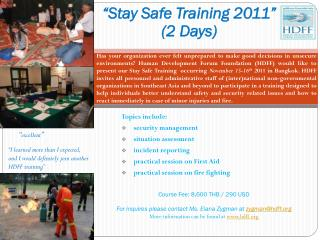"""Stay Safe Training 2011"" (2 Days)"