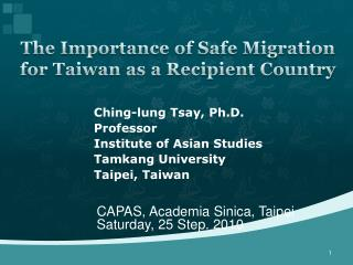 The Importance of Safe Migration for Taiwan as a Recipient Country