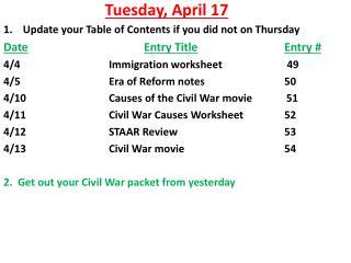 Tuesday ,  April  17