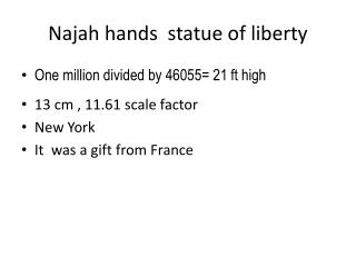 Najah hands  statue of liberty