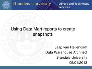 Using Data Mart reports to create snapshots