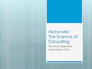 Niche-Me ! The Science of Consulting
