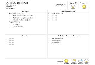 UAT PROGRESS REPORT UAT: Project name Prepared by: Date: DD-MM-YYYY