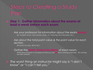 Steps to Creating a Study Plan