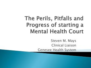 The Perils, Pitfalls and Progress of starting a Mental Health Court