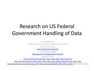Research on US Federal Government Handling of Data