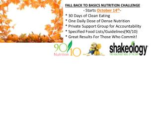 FALL BACK TO BASICS NUTRITION CHALLENGE starts October
