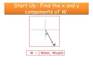 Start Up : Find the x and  y  components of W.