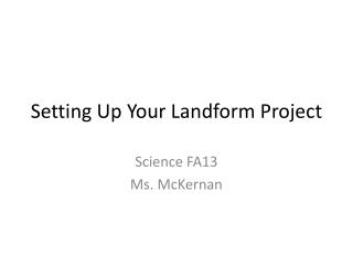 Setting Up Your Landform Project