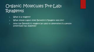 Organic Molecules Pre-Lab: Reagents