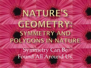 Nature�s Geometry:  Symmetry and polygons  in Nature