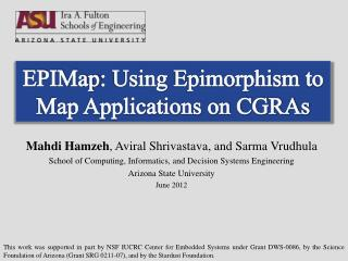 EPIMap : Using  Epimorphism to Map Applications on CGRAs