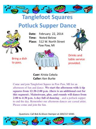 Tanglefoot  Squares Potluck Supper Dance