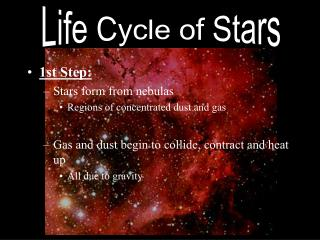 1st Step: Stars form from nebulas Regions of concentrated dust and gas